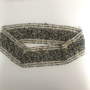Cocobella beaded black and white stretch belt